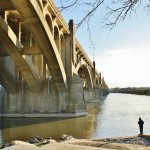 New cast-iron lanterns being installed on the Columbia-Wrightsville bridge