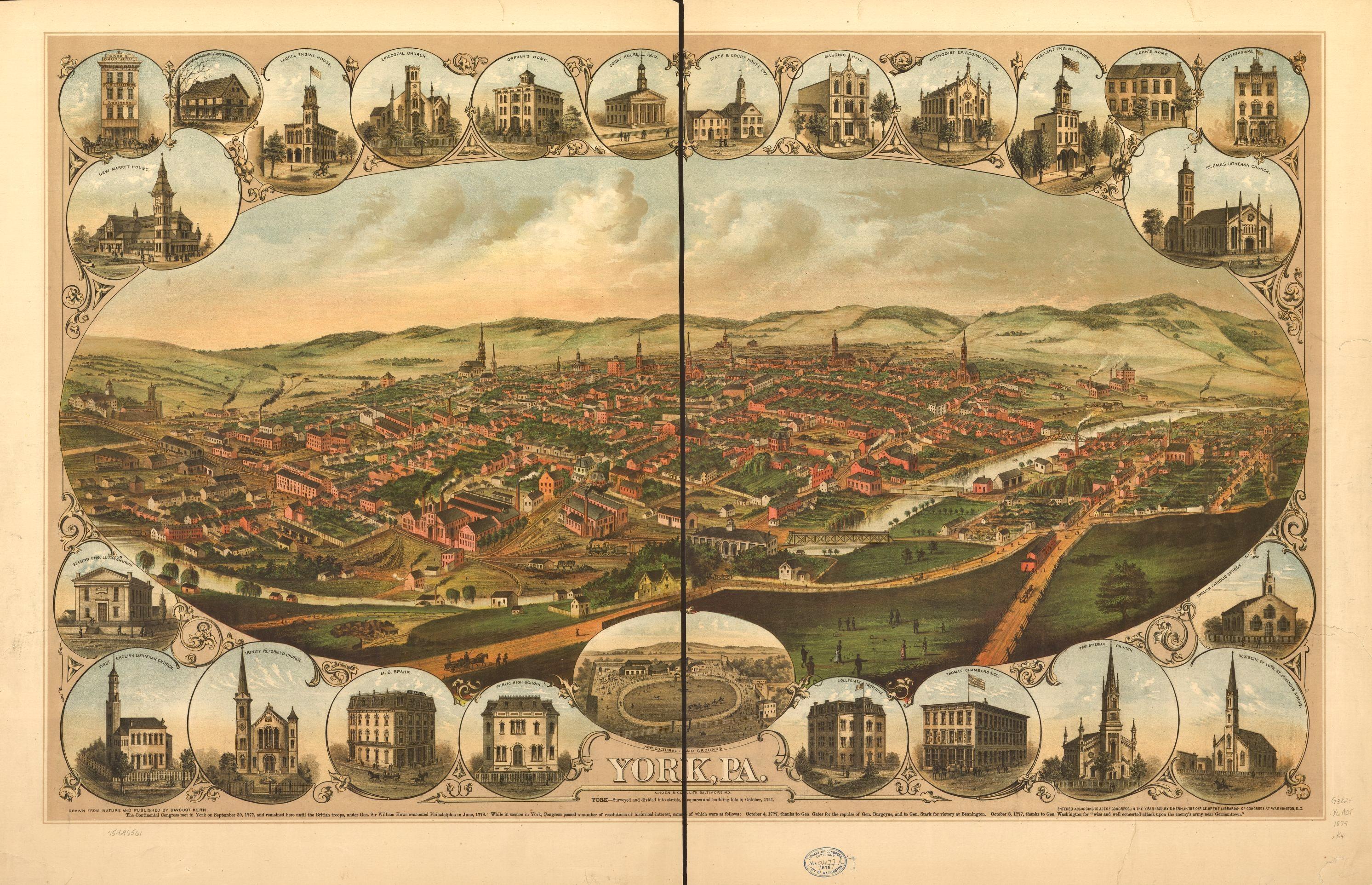 historic 1879 bird s eye view map of york pa visit pa dutch country