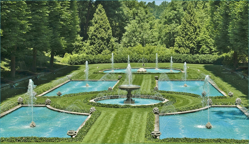 Fountains at the Italian Water Garden - Longwood Gardens - Photo by