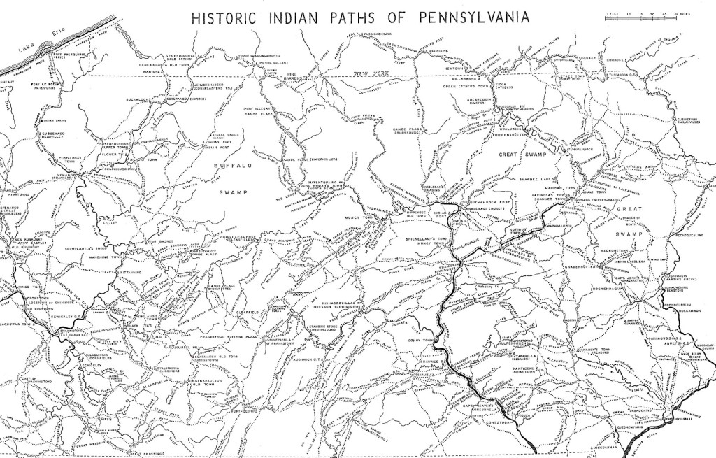 Map of the Historic Indian Paths of Pennsylvania
