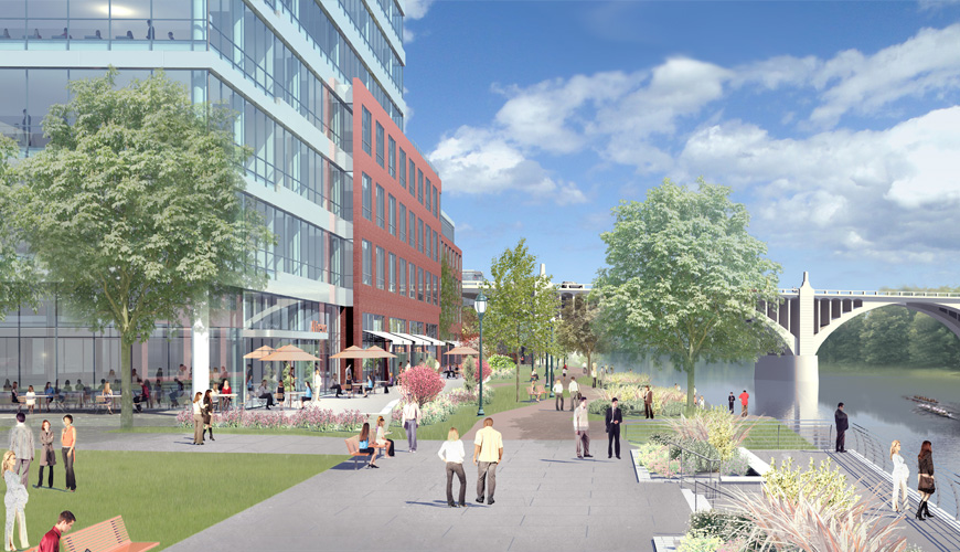 A rendering of the future river walk section of the Allentown Waterfront development project. Image by thewaterfront.com