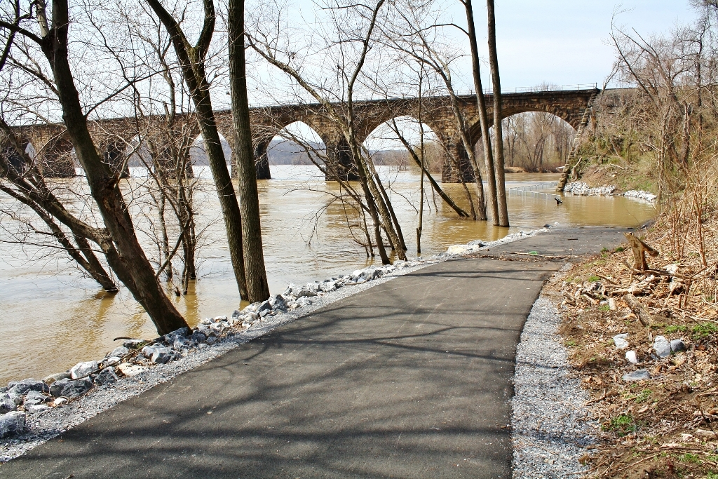 Shocks Mill Bridge Bike Path Flooded Susquehanna River