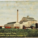 An old postcard showing Pennsylvania chocolate magnate Milton Hershey's sugar cane plantation and mill in Hershey Central, Cuba, in the early part of the 20th century.