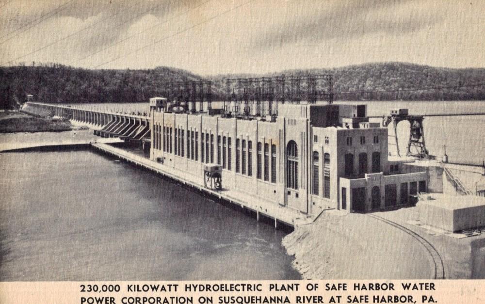 Safe Harbor Dam Vintage Postcard